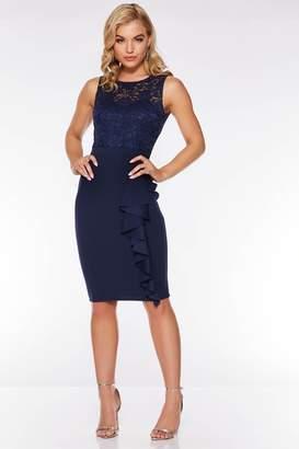 Quiz Blush Sequin Frill Midi Dress