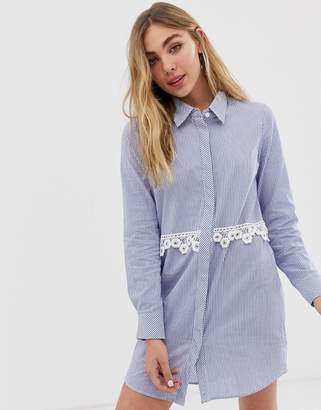 Glamorous shirt dress with lace detail