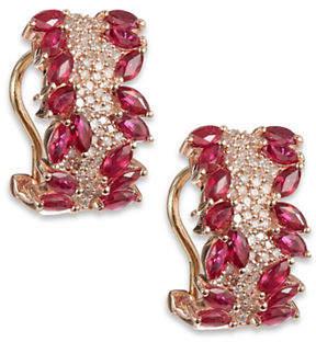 Effy 14k Rose Gold Diamond Ruby Earrings