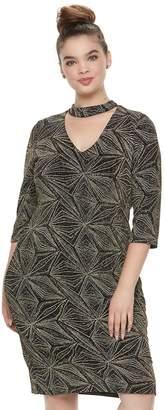 Wrapper Juniors' Plus Size Metallic Choker Dress