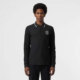 Burberry Long-sleeve Embroidered Logo Cotton Polo Shirt