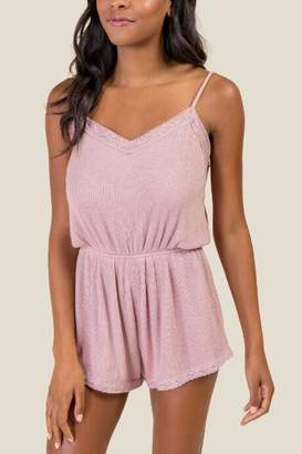 francesca's Leanna Cozy Lace Trim PJ Romper - Light Rose