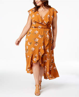 Soprano Trendy Plus Size Ruffled Wrap Dress