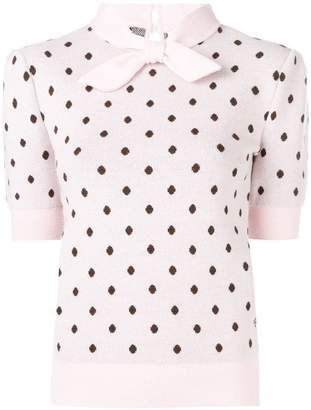 Mulberry polka dotted knitted top