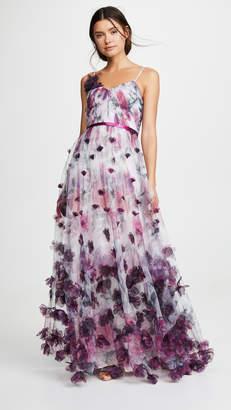 Marchesa V Neck Floral Tulle Gown
