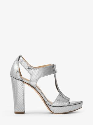 MICHAEL Michael Kors Berkley Lock Metallic Embossed-Leather Platform Sandal