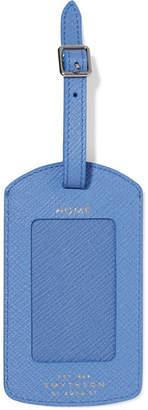 Smythson Panama Textured-leather Luggage Tag - Blue
