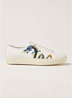 Topman Mens White Leather Dane Embroidered Premium Sneakers
