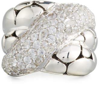 John Hardy Kali Arus Twist Ring w/ White Sapphire Pave, Size 7