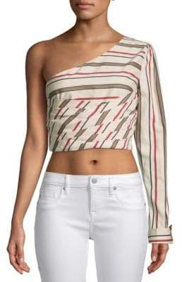 J.o.a. Striped One-Shoulder Cotton Cropped Top
