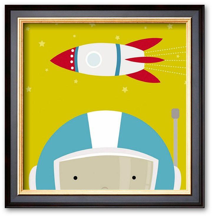 "Art.com Peek-a-Boo Heroes: Astronaut"" Framed Art Print by Yuko Lau"