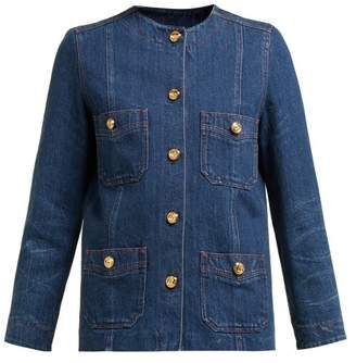 Gucci Collarless Gg Button Denim Jacket - Womens - Denim