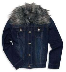 Splendid Baby, Little& Girl's Faux Fur Collar Denim Jacket