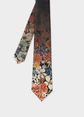 Paul Smith Men's Faded Floral Print Silk Tie