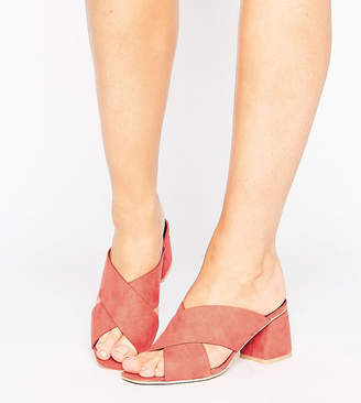 Lost Ink Wide Fit Cross Strap Mid Heeled Mules