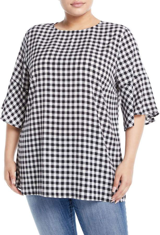 Gingham Flutter-Sleeve Blouse, Plus Size