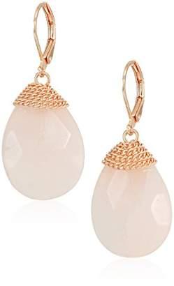 Kenneth Cole New York Women's Rose Gold Tone Stone Leverback Drop Earrings