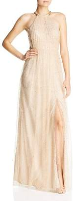 Bariano Glitter Mesh Gown