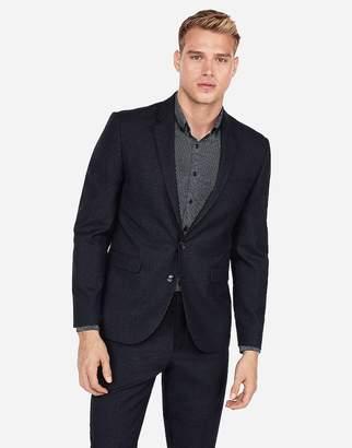 Express Extra Slim Dark Navy Check Wool Suit Jacket