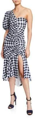 Jonathan Simkhai Lux Twill One-Shoulder Gingham Dress