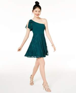 City Studios Juniors' Lace & Chiffon One-Shoulder Dress, Created for Macy's
