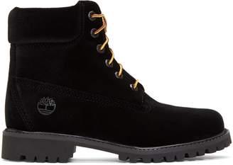 """Timberland 6"""" Boot Off White Black Velvet"""
