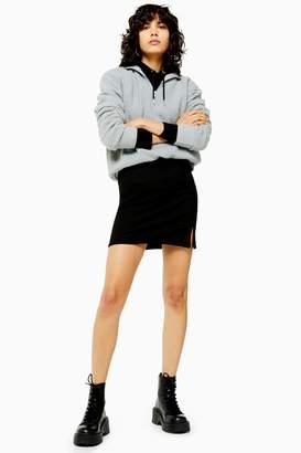 Topshop Womens Black Ribbed Jersey Mini Skirt - Black