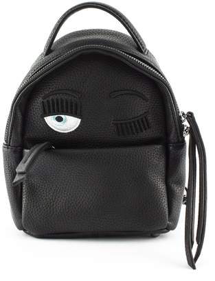 Chiara Ferragni Flirting Eye Black Faux Leather Backpack
