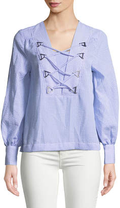 Marled By Reunited Crisscross-Front Seersucker Blouse