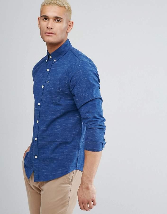 Hollister Logo Pocket Textured Slim Fit Shirt in Navy
