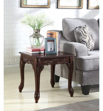 Roundhill Furniture Roundhill Traditional Ornate Detailing Dark Cherry Finish Wood End Table