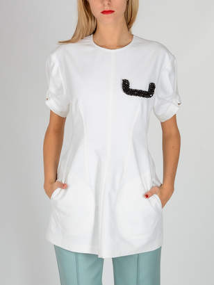 Celine (セリーヌ) - CÉLINE ビーズ刺しゅう ポケット 半袖トップ ホワイト 36