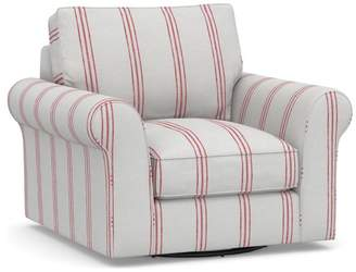 Pottery Barn PB Comfort Roll Arm Upholstered Swivel Armchair - Print and Pattern