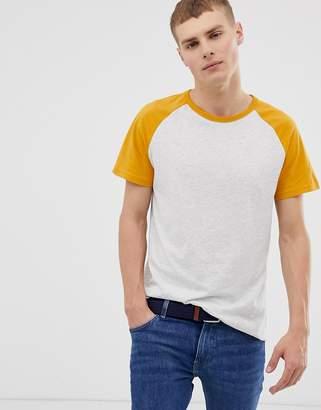Burton Menswear Regular Fit Colour Block T-Shirt In Mustard And Grey