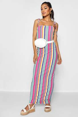 boohoo Tie Shoulder Jersey Maxi Dress