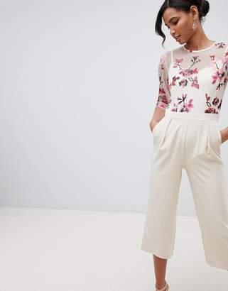 Little Mistress Embroidered Top Culotte Jumpsuit In Cream Multi