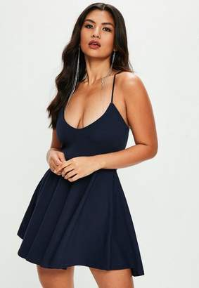 Missguided Navy Scuba Skater Dress