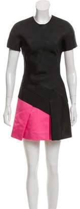 J. Mendel Short Sleeve Mini Dress Black Short Sleeve Mini Dress