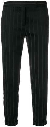 Thom Browne Chenille Banker Stripe Lowrise Skinny Trouser With Grosgrain Tuxedo Stripe