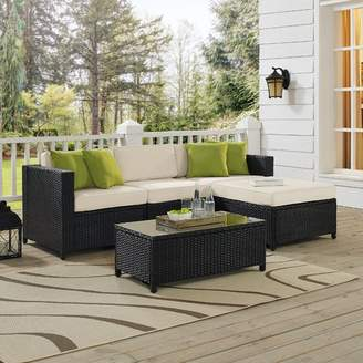 Charlton Home Kaczor 5 Piece Rattan Sectional Set with Cushions Frame