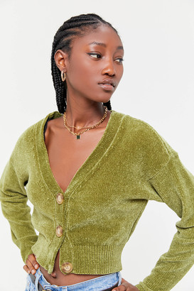 Urban Outfitters Honey Plush Cropped Cardigan