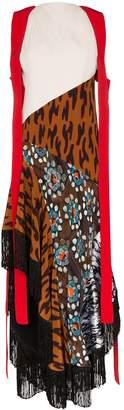 Thierry Mugler fringed draped cheetah-print silk dress