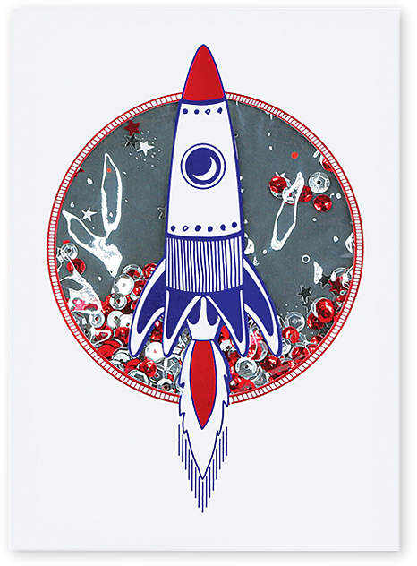 Rocket Ship Birthday Card - Set of Six