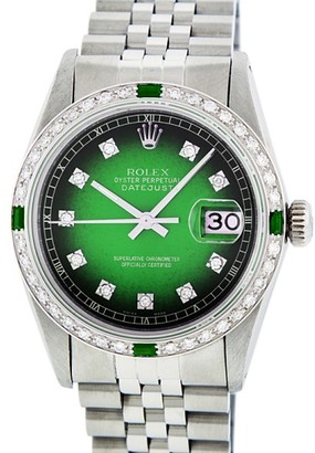 Rolex Datejust 16014 Stainless Steel & 18K White Gold Green Vignette Diamond & Emerald 36mm Watch $16,750 thestylecure.com