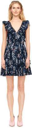 Rebecca Taylor Faded Floral Pleated Clip Dress