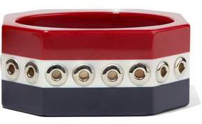 RED Valentino Eyelet-Embellished Striped Resin Bangle