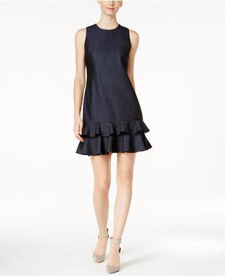 Calvin Klein Denim Ruffled Shift Dress $134 thestylecure.com