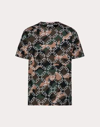 Valentino Camouflage T-shirt With Vltn Grid Print Man Military Green Cotton 100% S