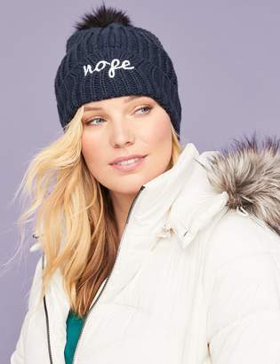 Lane Bryant Ribbed Knit Hat - Embroidered Graphic