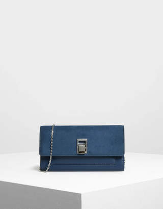 Charles & Keith Embellished Push Lock Wallet